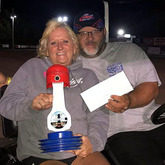 Rich Komor, pictured with wife, Barb, took first at the Motion Raceway Alumni Race at the Coles County Dragway on Saturday, Sept. 26, in Charleston.