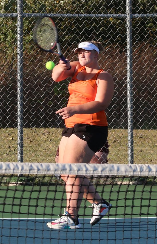 Ella Pfeifer was one of eight seniors to be honored during the Hillsboro girls tennis senior night on Monday, Sept. 28, at the Hillsboro Sports Complex. Pfeifer won her singles match and her doubles match, with partner and classmate Torrence Clark, to help the Toppers to an 8-1 victory over Vandalia.