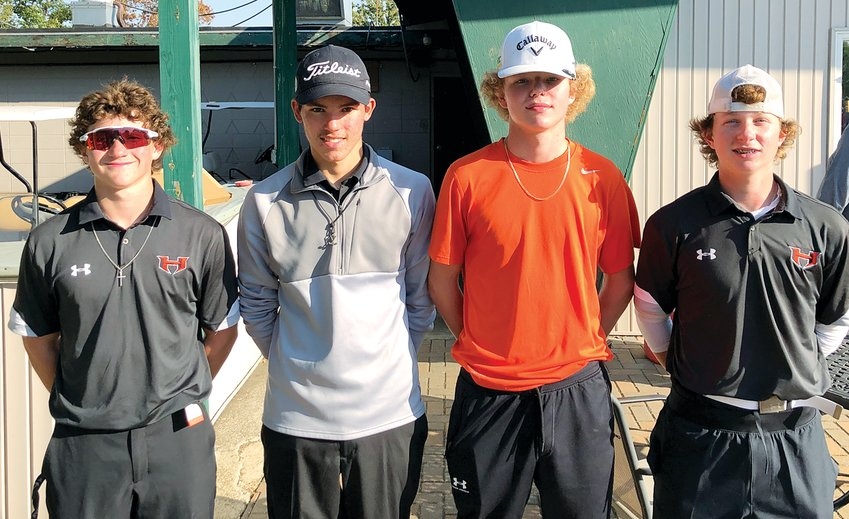 The Hillsboro boys golf team will be well represented at the  Zeigler-Royalton Sectional at the Franklin County Country Club in West Frankfort on Tuesday, Oct. 13. Four members of the Topper golf team advanced as individuals to the tournament, which will also feature players from the Mt. Carmel, Okawville and West Frankfort regionals. Advancing from the Mt. Olive Regional, from the left, were Dillon Smail, Dom Haggard, Drake Vogel and Preston Lyerla.