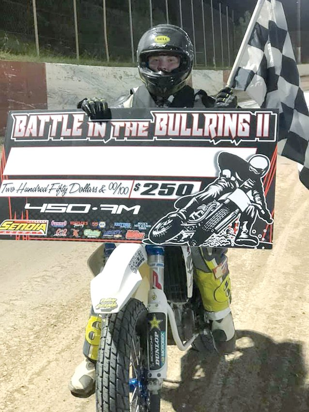It was a big start to the month of October for Chase Saathoff as the Hillsboro High School freshman picked up a pair of wins at the Senoia Shootout in Georgia. That was just the warm-up though as Saathoff was selected to run in the Road To AFT invite the next night at the Dixie Speedway, an event meant to give up-and-coming racers the chance to learn from pro flat track racers during an AFT series event.