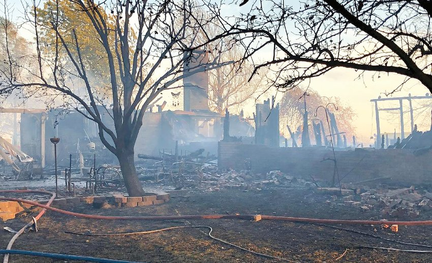 This home owned by Donald and Brenda Edwards on North 6th Avenue, south of Route 185, was totally lost in the ground fire that swept across southern Montgomery County on Saturday.