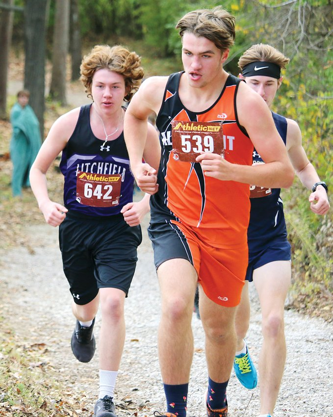 Kevin Pollard (#642) provided a solid third score for Litchfield behind the 1-2 punch of Camden Quarton and Will Carlile at the sectional on Saturday, Oct. 24, in Carlinville. Pollard finished 18th as the Panthers took second overall and advanced to the sectional in Decatur next Saturday.