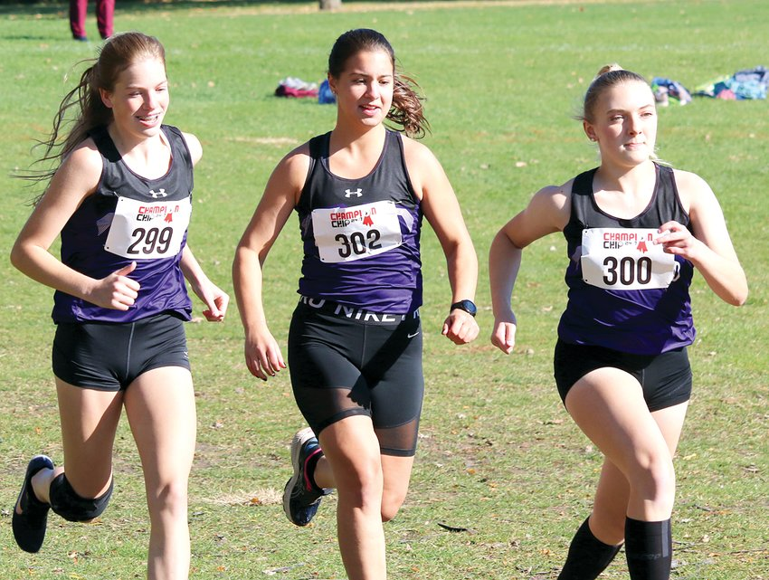 With the second sounding of the gun of the day, Litchfield runners, from the left, Madison Brakenhoff, Karly Kruse and Kylee Eiting take off from the starting line at the IHSA cross country sectional in Decatur on Saturday, Oct. 31, at Hickory Point Golf Course. The team would finish 14th at the meet, Kruse's last as the lone senior on this year's girls' team. Both Litchfield cross country teams will return a lot of young talent in 2021, including Brakenhoff, who finished 104th on Saturday, and Eiting, who finished 76th.