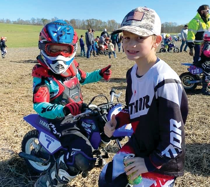 Cousins Gideon Cruthis (left) and Case Cruthis (right) wrapped up their run in the Crossroads Racing Series on Saturday, Oct. 31, with a trip to Bloomfield, IN. Both boys would do well, with Case winning the Four Stroke class and Gideon finishing second in the Auto Inject class.