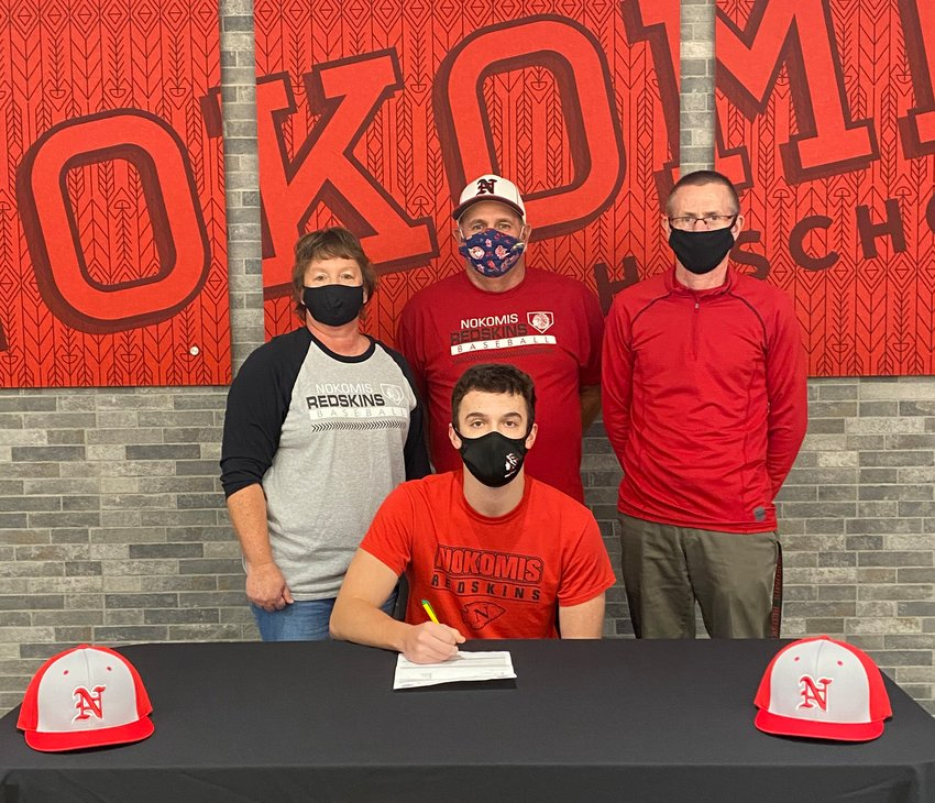 Joined by his parents, Cheri and Scott Herpstreith, and Nokomis High School Assistant Baseball Coach Tim Miller, Evan Herpstreith made his future plans official as he signed his letter of intent to play baseball for the Lincoln Land Community College Loggers on Tuesday, Nov. 10.