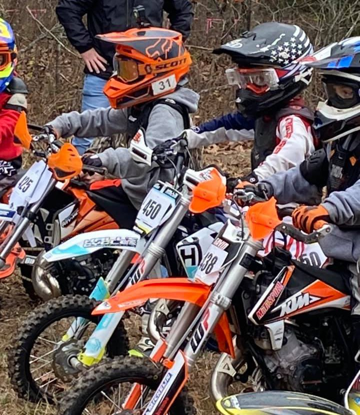 Jhenner Walker, middle, #450, took second in the PeeWee 8-and-Under A class at the Hillbilly Gran Prix race at Hardwood Hills Ranch in Mansfield, MO, on Sunday, Nov. 29. Jhenner's brothers also raced that day, with Jhadyn finishing sixth in pro and Jhak finishing first in B Junior.