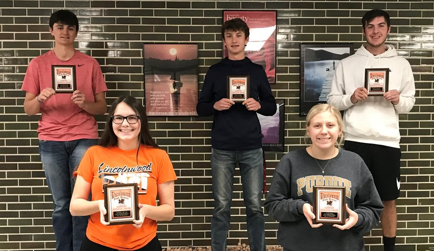 This year's Lincolnwood/Morrisonville boys and girls golf teams were each led by a trio of seniors during the 2020 golf season. From the girls team, in front, from the left, are Dorie Krager, Jordyn Gerlach and not pictured, Micah Gehlbach. In the back, from the boys team, are Michael Jones, Braxton Schmedeke and Devin Brown.