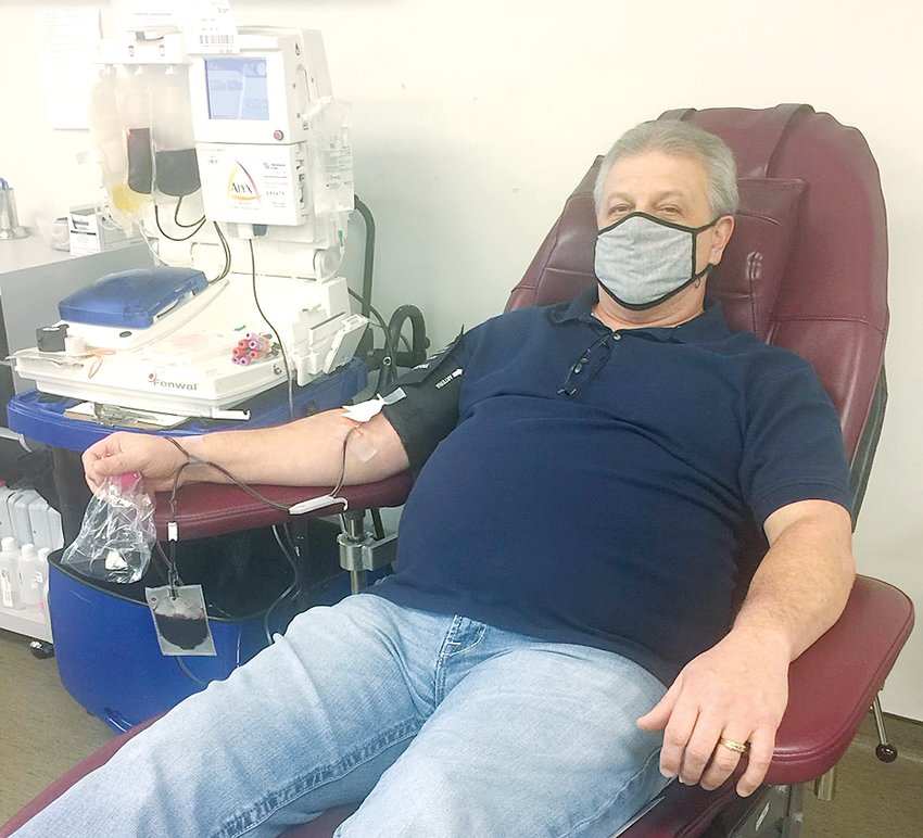 Tony Throne of Litchfield donates convalescent plasma for the second time on Wednesday, Jan. 13. He plans to donate as many times as they can before his COVID antibodies are too low.