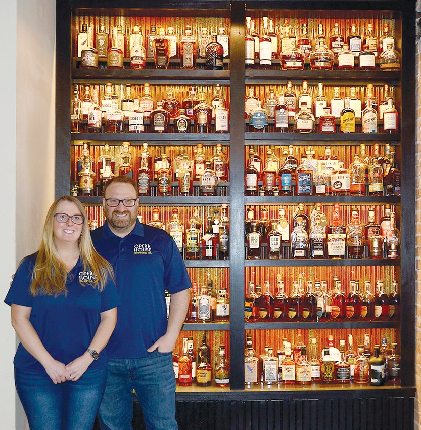 Since opening Opera House Brewing Company nearly two years ago, owners Anthony and Jennifer Marcolini have continued to add to their whiskey collection, which now features more than 300 bottles on display.