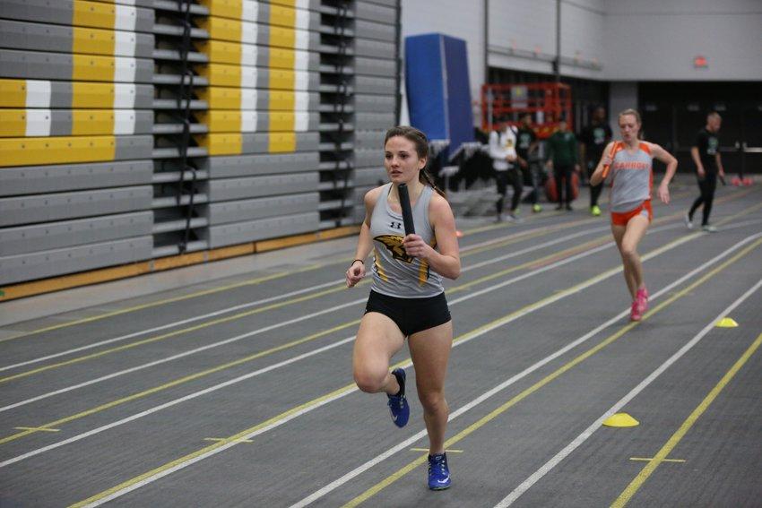 Hillsboro grad Kyra Huber ran the first leg of UW-Oshkosh's second place 1,600 meter relay at the UW Oshkosh Early Bird Invitational.