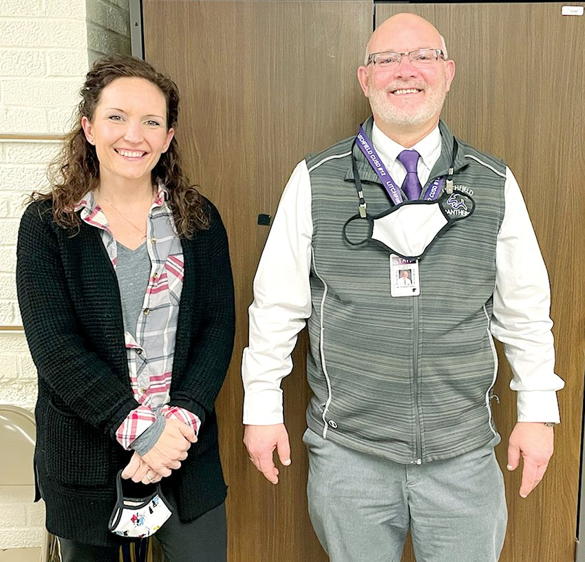 Litchfield Superintendent Dr. Greggory Fuerstenau, at right, introduced Joletta Ellis to the board Thursday night. Ellis will replace Doug Hoster as Litchfield High School Principal when Hoster retires this year.
