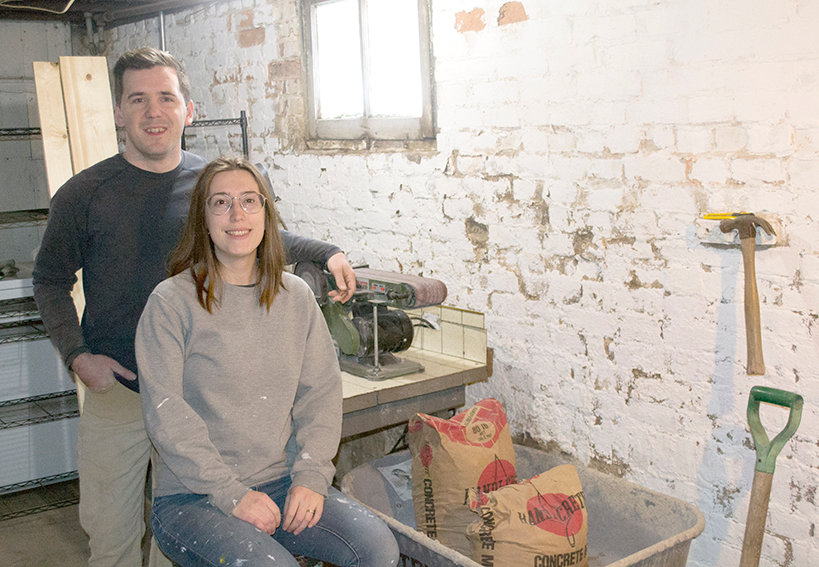 Cafe Beton owners, Scott and Chloe Durbin (above), have spent much of the last year in their workshop perfecting the process they use to make their concrete home goods.