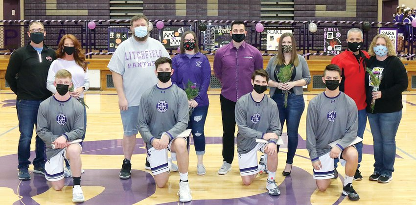 It was senior night for the Litchfield boys basketball team on Monday, March 1, as the Purple Panthers took on Southwestern. The night turned out to be a productive one for the team as they won 61-59 in overtime over the Piasa Birds. Seniors honored before the win were Will Carlile, son of Richard and Kim Carlile; Jordan Harris, son of Jeff and Erin Harris; Chase Hires, son of Craig and Stephanie Hires; and Blake McGill, son of Robert and Heather McGill.