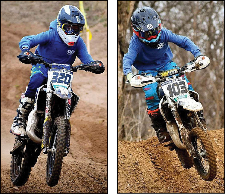 Brothers Zach (left) and Cooper Duff each finished atop their respective divisions at the Midwest Motocross Club Gran Prix on Sunday, March 14, in Chandlerville. Zach, who earned the win in Super Mini, also took first overall in the youth division, while younger brother Cooper finished third overall. Their father, Ryan, also raced, finishing fifth in his class.