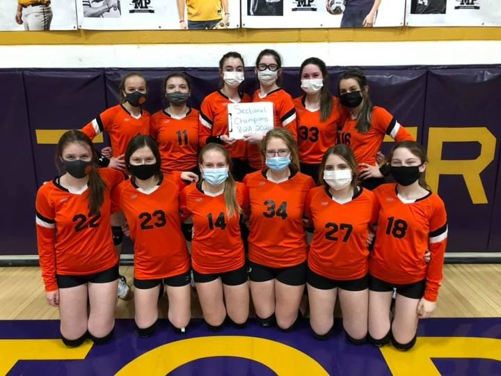 The eighth graders from the Lincolnwood Junior High School volleyball program finished off a perfect season, and a perfect career, on Thursday, March 18, with a 25-19, 25-20 victory over Mt. Pulaski in the IESA Class 8-2A sectional. Team members, in front, from the left, are Paityn Reagan, Carly Armentrout, Tori Elvidge, Audrey Germann, Taryn Love and Braylin Crawford. In the back row are Kirsten Pope, Ellie Nudo, Jazmin Seaton-Hobson, Kierstyn Denney, Morgan Cowdrey and Morgan Hampton. With no state tournament this year, the win ended the Knights' season with a perfect 12-0 record. The eighth graders also went 27-0 last year before COVID-19 struck, and never lost a set in those 39 games.