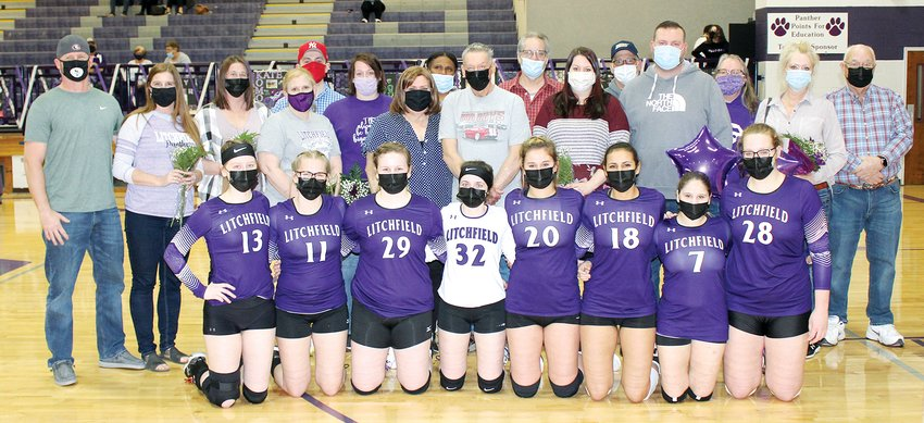 The senior members of the Litchfield High School volleyball team were honored prior to their game against Gillespie on Tuesday, March 22, at Simmons Gym. From the left are Alyson Fenton, daughter of John and Trish Fenton; Madison Fowler, daughter of Amanda Fowler; Brianna Jeffers, daughter of Russell and Mary Jeffers; Kate Komor, daughter of Krista Komor; Dakoda Mix, daughter of Colt Mix and Melissa Mix and Chad Grammer and Holly Alender; Isabella Ott, daughter of Pamela Foster; Becky Painter, daughter of Kevin and Doreka Painter; and Cara Pence, daughter of Clyde and Kim Pence.