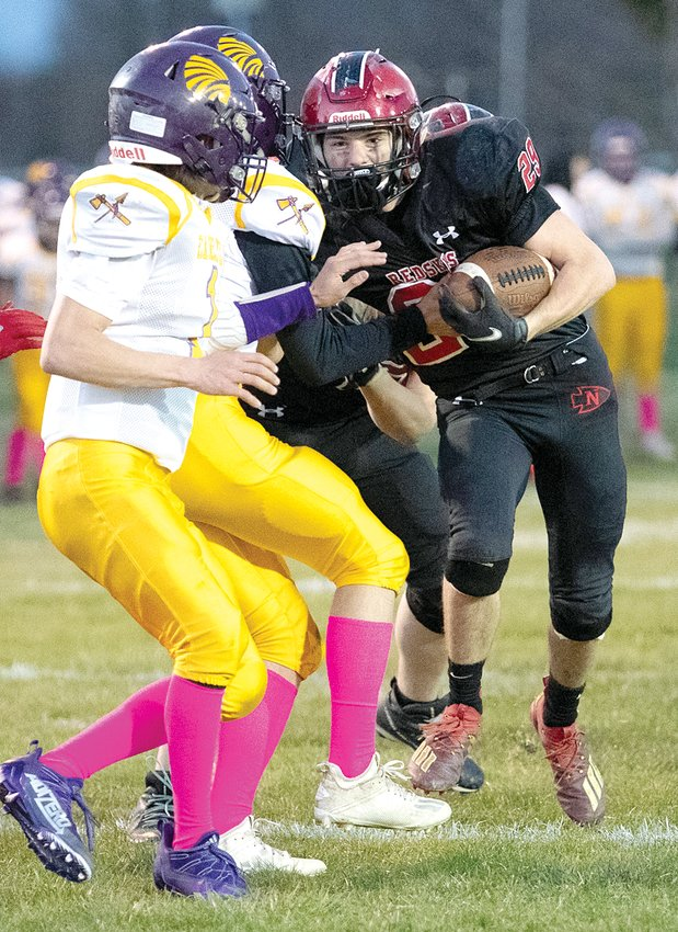 After missing last week due to injury, Nokomis running back Matt Hill made up for lost time as he scored three touchdowns in the Redskins' 41-0 victory over Carlyle on April 2.