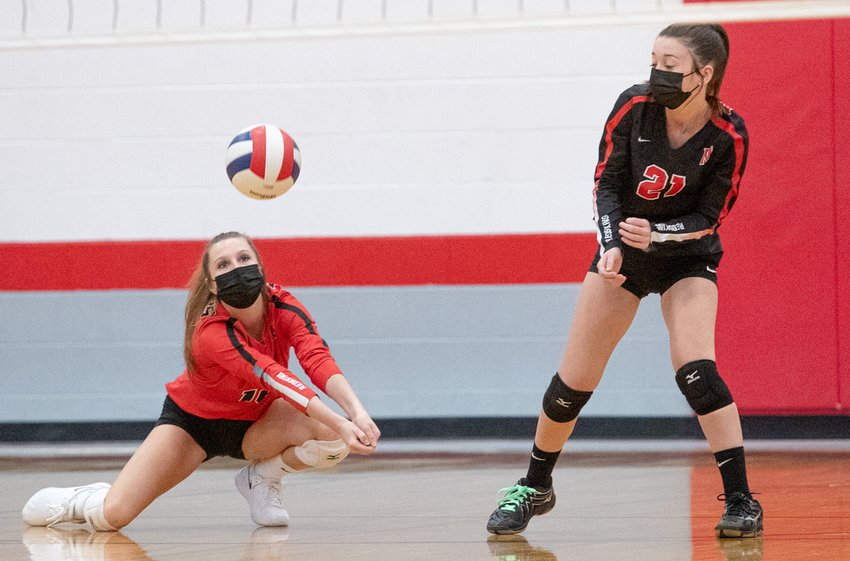 Nokomis libero Delaney Keiser had 14 digs in the Redskins' two-game win over Bunker Hill on Thursday, April 1.