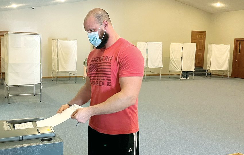 Despite record turnout in the November general election, turnout in Montgomery County was much smaller for the consolidated election, held Tuesday, April 6. Pictured above, Hillsboro City Council member Michael Murphy casts his vote at the Hillsboro Free Methodist Church on Tuesday afternoon.