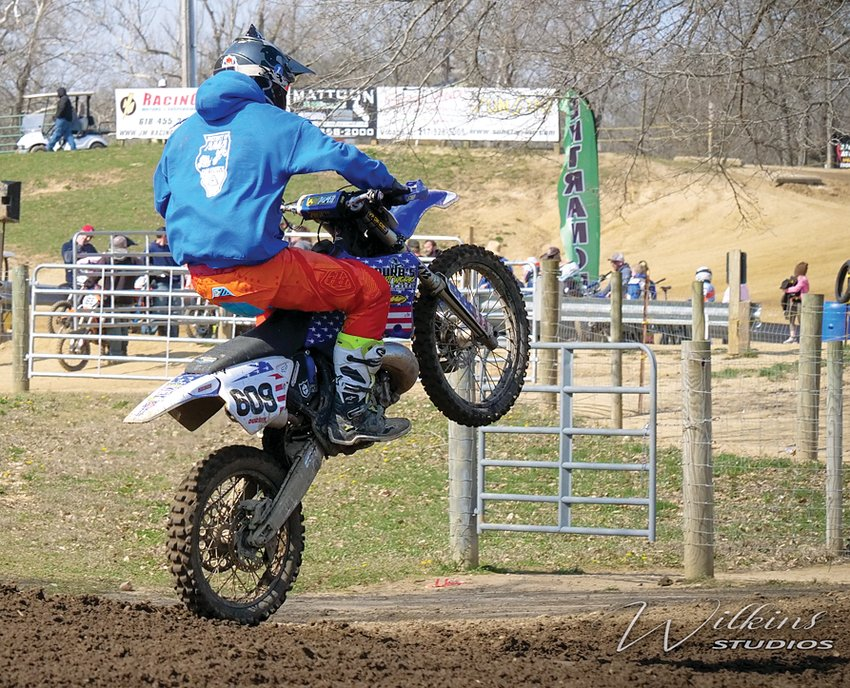 Jon Durbin rides it out after a jump at the Sunoco Race Fuel Spring Shootout Pro-Am at Lincoln Trail Motosports on Sunday, April 4. Durbin would take first in the Throwback class at the event, his first victory in two decades.