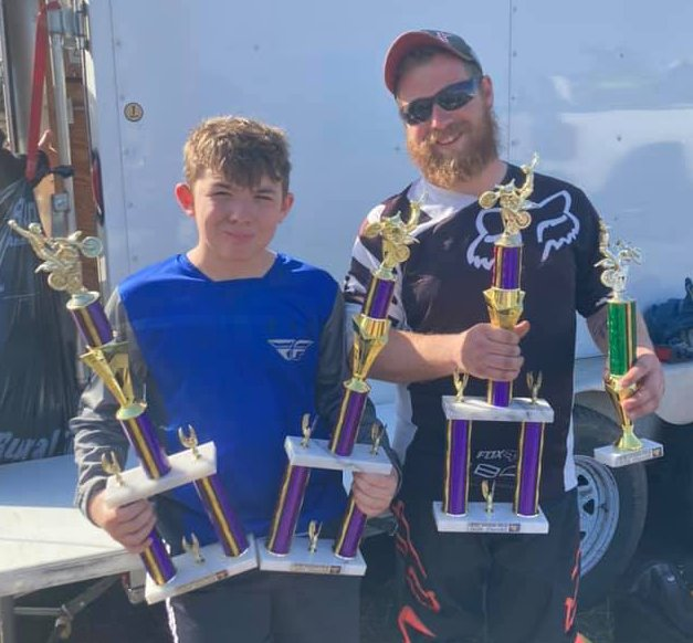 Area racers Trenton Kimbro (left) and Ryan Petroski will have to find some space in their trophy cabinet after racing at Midwest Motosports Club in Chandlerville on March 21. Kimbro took first in the Super Mini and 85cc Senior classes, plus second in the Schoolboy class, while Petroski was fifth in the 250 C class.