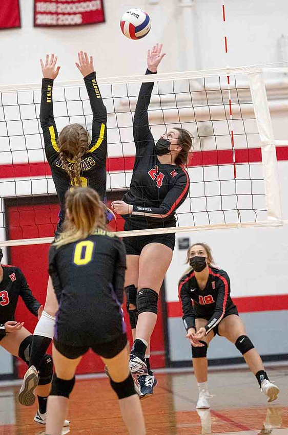 Nokomis Audrey Sabol goes up for a kill during the Lady Redskins' victory over Mt. Olive on Wednesday, April 7.