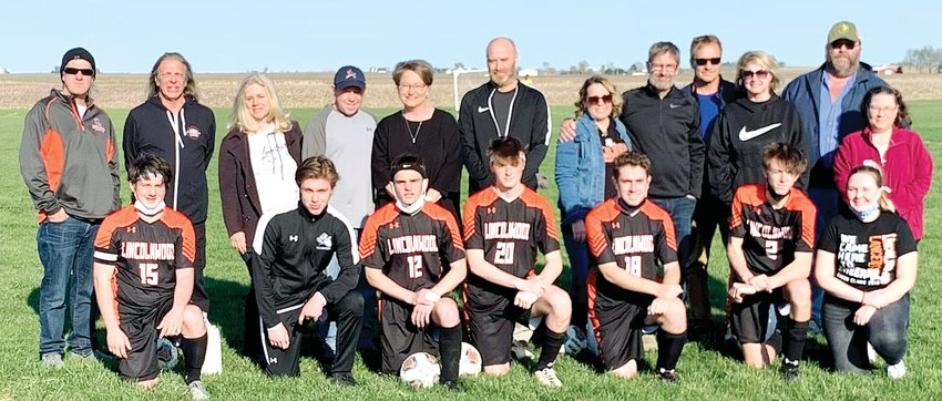 It was senior night for the Lincolnwood/Nokomis/Morrisonville/Pawnee soccer program on Monday, April 12. Seven seniors were honored prior to the game, which the Lancers won 6-0 over Taylorville. From the left are Sam Terneus, son of John Terneus and the late Darci Terneus; Ian Marvel, son of Steve and Janice Marvel; Gavin Lipe, son of Greg and Jill Lipe; Filip Kates, son of Jason and Veronica Kates; Graham Gunn, son of Will and Lisa Gunn; Benny Clavin, son of Tricia and Jim Havera and the late Eric Clavin; and Sara Slightom, daughter of Brett and Beth Slightom.