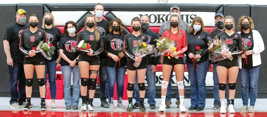 Wednesday, April 14 was senior night for five members of the Nokomis volleyball team as the Lady Redskins hosted the Mohawks from Morrisonville. Seniors honored before the game, from the left, were Olivia Taylor, daughter of Jeff Sanders and Brianna Coss; Kristen Stauder, daughter of Scott and Nicole Stauder; Alex Pavolka, daughter of Michele and Kirk Pavolka; Delaney Keiser, daughter of Darren and Missy Keiser; and Mia Fesser, daughter of Carl and Jayne Fesser.