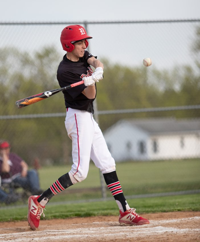 Nokomis senior Benny Clavin had one hit, but crossed the plate four times in the Redskins' opening game on Monday, April 26. Clavin had company in the run column as the Redskins scored 22 more times to beat Edinburg 26-1 in Nokomis.