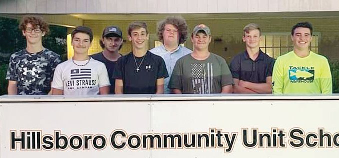 The founding eight members of the Hillsboro High School bass fishing team addressed the Hillsboro Board of Education back in September 2019 to help spur the creation of their club. Now, nearly two years later, the club will compete in its first IHSA sectional this Thursday, May 6. From the left are Austin Edwards, Dalton Reynolds, Trey Robinson, Bryce Connor, Quaid Floyd, Ethan Blackburn, Reese Morford and Jayden Jacobs.