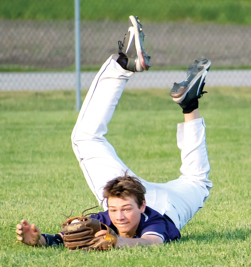 Litchfield's Bryce Hires came up with a spectacular diving catch during the Panthers' game against Vandalia on Monday, May 3. Unfortunately, the Vandals would come away with an 11-3 victory over the home team.