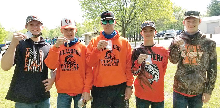In their first year competing, the Hillsboro High School bass fishing team is going to state. Pictured from the left, the team of Reese Morford, Austin Loskot, Coach/Boat Captain Dennis Loskot, Elias Gutierrez and Austin Edwards reeled in 11.16 pounds worth of keepers at the Coffeen Sectional on Thursday, May 6, to finish third and earn a trip to the State Finals at Carlyle Lake on May 21-22.