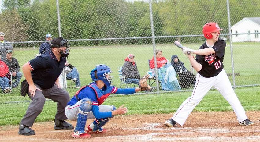Nokomis' Matthew Ulrici (#21) went 2-for-4 with a double and two runs driven in during the Redskins 6-5 loss to Pawnee on Monday, May 10.