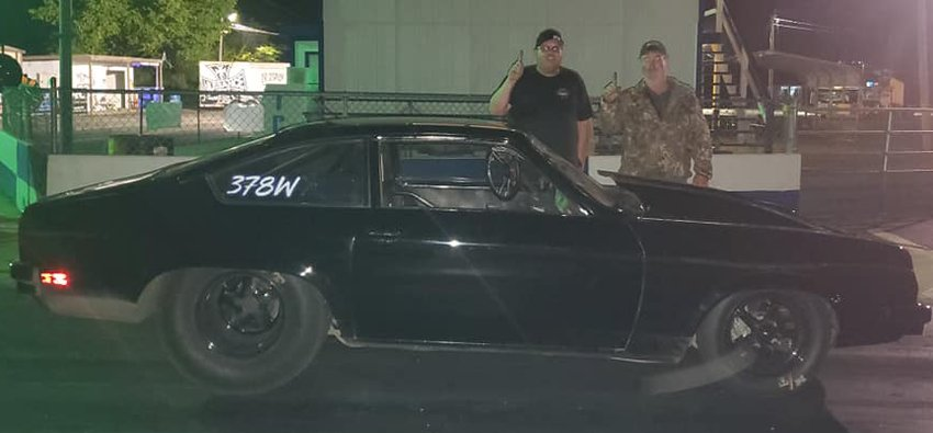 It was a good start to the month of May for Litchfield racer Corey Wood, pictured with Roger Burdell (right) in victory lane at Jeffers Motorsports Park in Sikeston. Wood piloted his Chevrolet Vega to the top spot in the Super Pro class during the bracket races on May 1, and made it down to five cars in the Pro class.