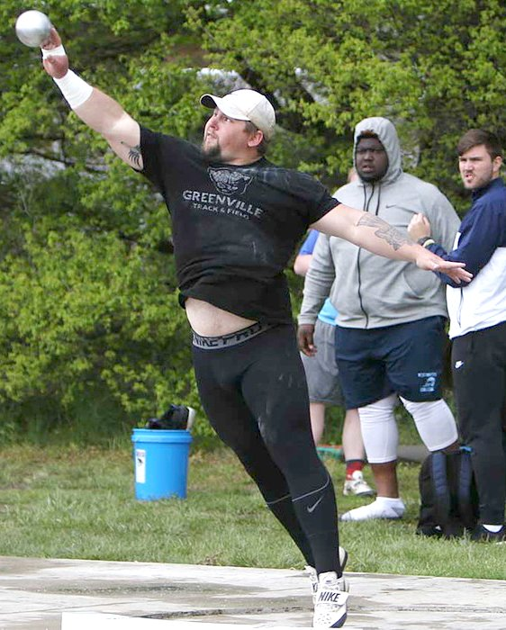"""Litchfield grad Maurice Radtke recently won the conference title in the shot put at the St. Louis Intercollegiate Athletic Conference Championships for Greenville University with a throw of 46'4""""."""