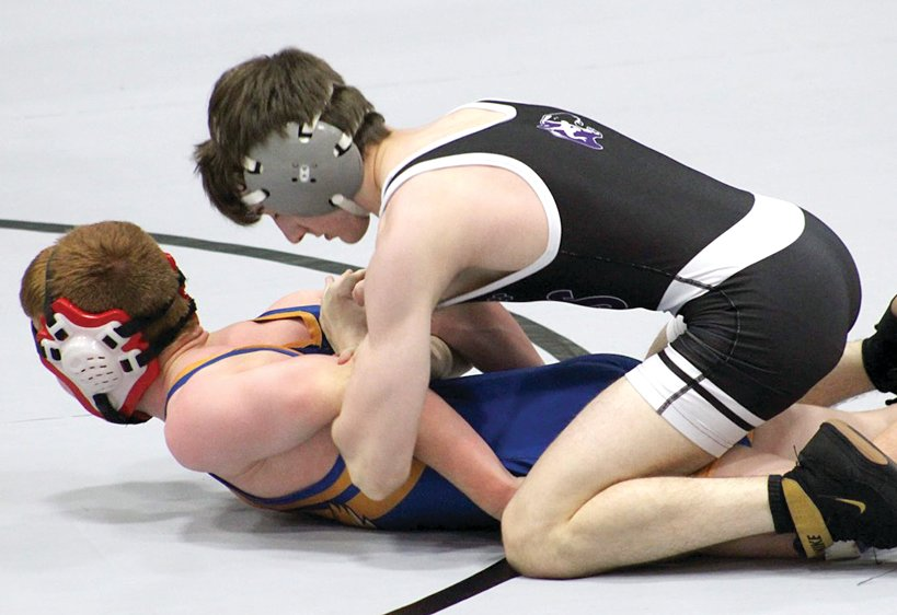 Litchfield's Alex Powell ties up Connor Park of Riverton during the Panthers' match with the Hawks on May 19. Powell would go on to get the win over Park by fall with six seconds left in the second period as the Panthers beat Riverton 46-12.