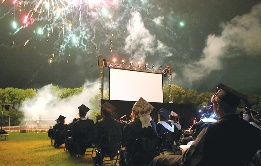 The Hillsboro class of 2021 concluded their high school careers with a fireworks display at the end of commencement exercises Friday, May 28, on Sawyer Field.
