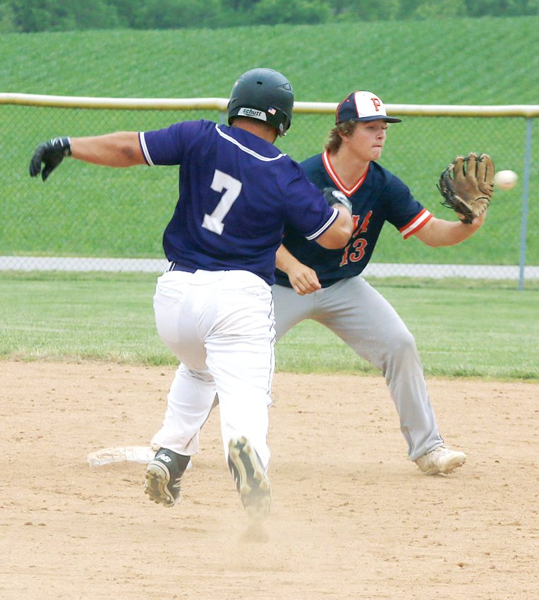 Litchfield's Jacob Frerichs bears down on Pana shortstop Sam Beck during Litchfield's 6-0 loss to the other South Central Conference Panthers on Tuesday, June 1. Frerichs was one of Litchfield's heros the following day as he pitched four no-hit innings in the Purple Panthers 5-3 regional win over Auburn.