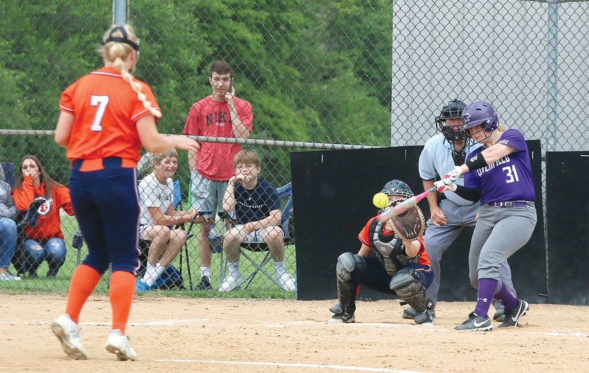 Litchfield senior Bri Jeffers singles off Pana pitcher Kiley Ladage during the fourth inning of the battle between the two Panthers on Tuesday, June 1. Jeffers' hit would drive in Litchfield's second run of the game, but Pana would beat the Purple Panthers 13-2 in six innings.