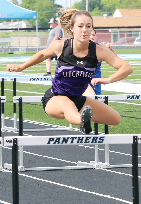 It was a busy day at the North Mac Sectional on Wednesday, June 2, for Litchfield senior Carson Lemon. Not only did Lemon set a personal record in the 100 meter hurdles and win the pole vault to qualify for state in both events, but she also ran a leg for the Panthers in their state-bound 4x100 and 4x200 meter relays.