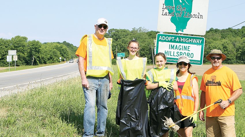 Imagine Hillsboro volunteers who cleaned up Route 16 on Saturday morning, June 12, from the left were Doug Johnson, Rylie Jones, Maryn Tarver, Cindy Huber and Mayor Don Downs.