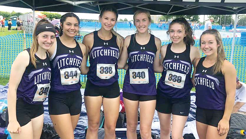 It was a successful end to the season as the Litchfield girls track team had seven entries at the state meet on Thursday, June 17, in Charleston. From the left are Kate Komor, Kendall Stewart, Lily Braasch, Carly Guinn, Emma Dively and Carson Lemon.