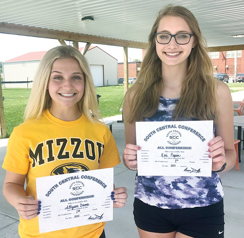 Hillsboro senior Ally Devore (left) and junior Kaci Papin were both selected to the South Central Conference all-conference  teams for the 2020-21 season. Papin, a three-time honoree, was a first team pick, while Devore earned a second team nod, making all-conference for the first time in her prep career.