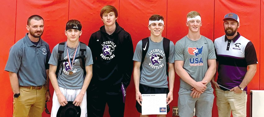 Four members of the Litchfield High School wrestling team will be making the trip to the Bank of Springfield Center on Thursday, June 24, for the IWCOA Class 1A State Wrestling Tournament after finishing in the top four at the sectional in Lawrenceville on Saturday, June 19. From the left are Coach Chance Davidson, Alex Powell, Brady Davidson, Carter Powell, Will Carlile and Coach Coy Davidson.
