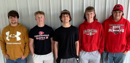 Five members of the Nokomis High School football team received all-conference recognition this year after the Redskins went 6-0 in an abbreviated 2021 season. From the left are Tanner Woolard, Landon Engelman, Dylan Hayes, Jake Johnson and Braeston Brummet