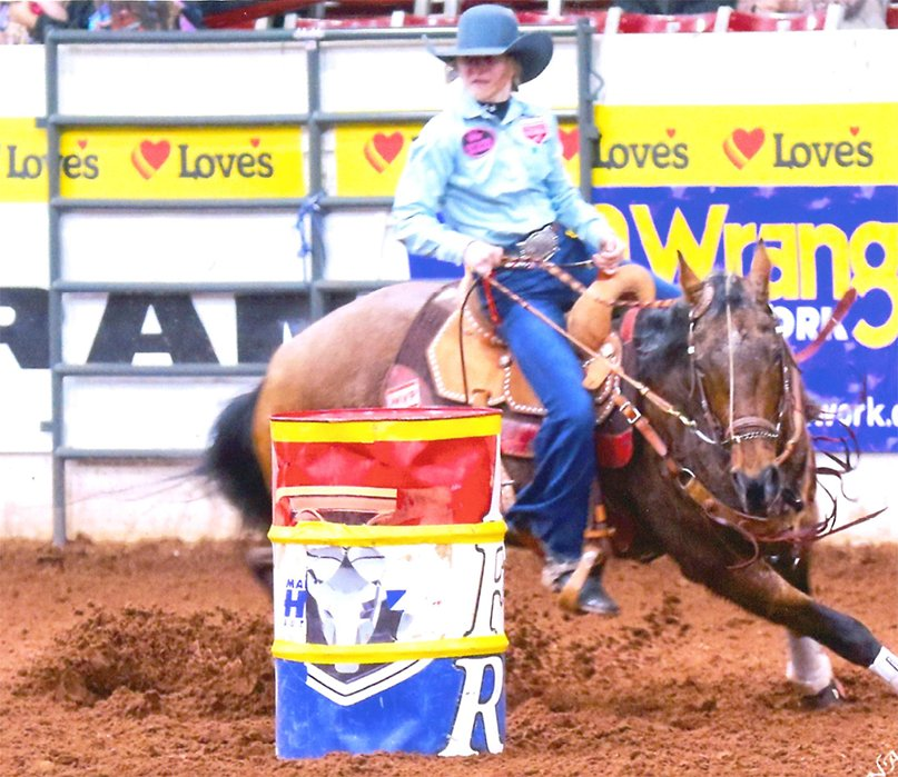Maddie Branum, the granddaughter of Margie and Rich Stewart of Hillsboro, will compete in barrel racing and five other events in Des Moines, Iowa, this week during the National Junior High Rodeo finals.