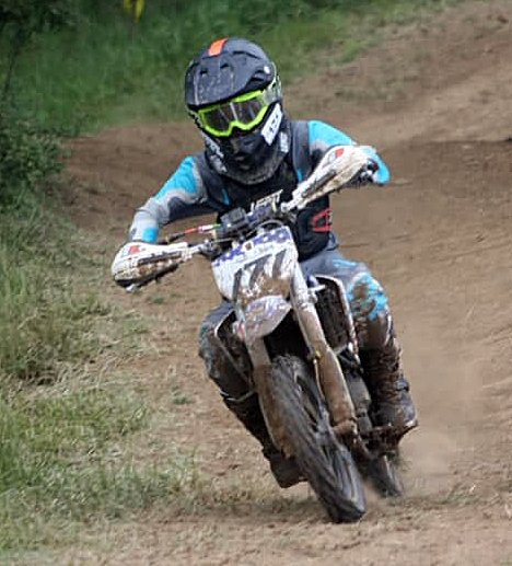 With wins in Canaan, IN, on May 16 and Springville, IN, on June 13, Walshville's Travis Lentz held on to first place in the IXCR off-road motorcycle racing series points for the 65cc (7-12) division.