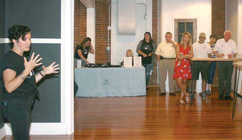Above, Hilltop Coop Vice-Chair Cara Noyes speaks about services the shared coworking space and business incubator will provide during an open house at the startup's new office space on Thursday night, July 1.