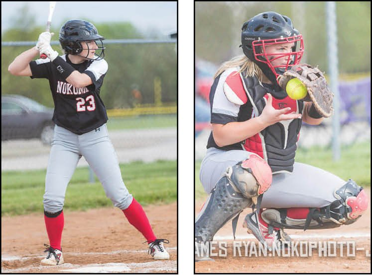 Nokomis' Addison Dangbar (left) and Emma Hill (right) were named to the 10-player Prairie State Conference All-Conference softball team.