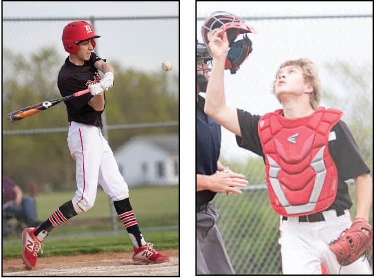 Nokomis' Benny Clavin (left) and Brenton Lyons (right) were named to the Prairie State Conference All-Conference baseball team.